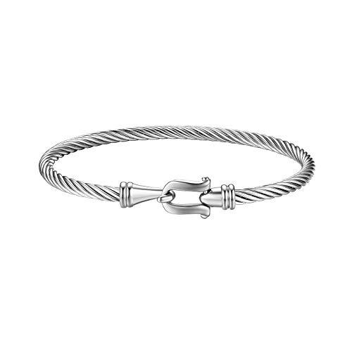 JewelryWe Schmuck Edelstahl Draht Viking Stulpe Armband Armreif Armspange mit Hakenverschluss für Herren Damen, Silber