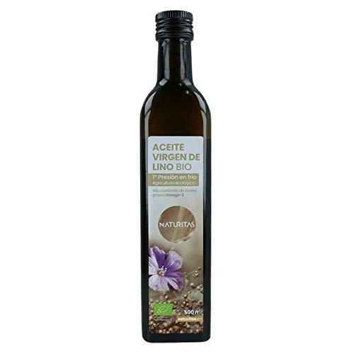 Naturitas Aceite de Lino de primera presión en frío Bio | 500ml | Fuente vegana de omega 3 | Propiedades beneficiosas para la salud | 100% semillas de lino de agricultura ecológica