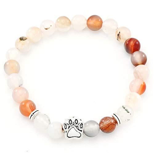 Stein Armband Damen,7 Chakra Echte Natürliche Achat Perlen Elastischen Armreif Silber Bär Pfotenschmuck Beten Yoga Balance Energie Reiki Charme Diffusor Geschenk Für Männer