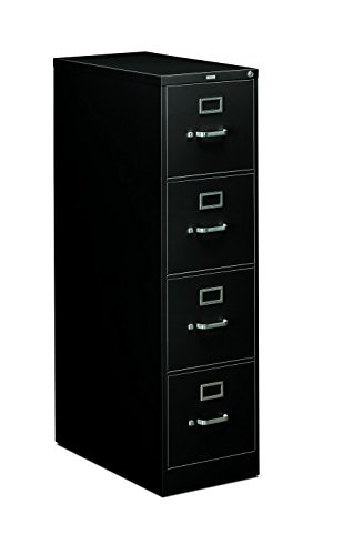 HON 4-Drawer Letter File - Full-Suspension Filing Cabinet, 26-1/2-Inch Black (310 Series - Model 314PP)