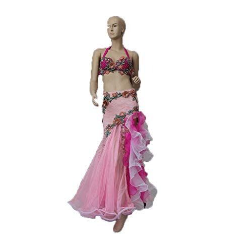 Zjx Belly Dance Costume Sexy Female Adult Two-Piece Suit Winter Costume (Color : Rose/Powder, Size : M)