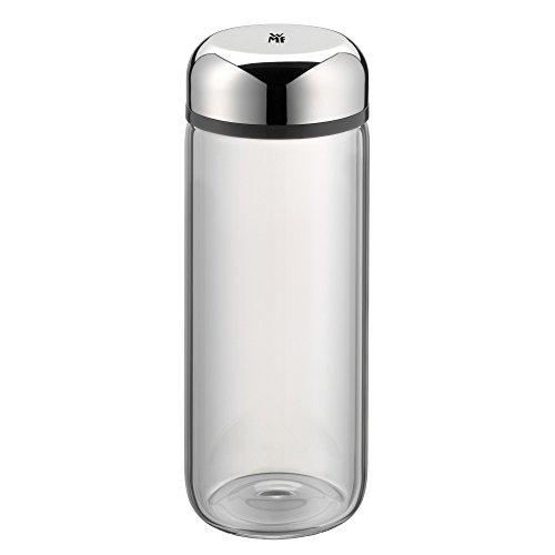 WMF Basic Trinkflasche, 500 ml, Höhe 19 cm, Glasflasche für Warm- und Kaltgetränke, Glas, Cromargan Edelstahl, in Geschenkkarton, grau