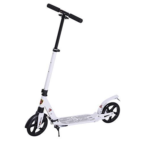 homcom Monopattino Scooter Monopattino Pieghevole con Serratura Rinforzata Regolabile per Adulti e Bambini in Alluminio 94 x 38 x 90-105 cm Bianco