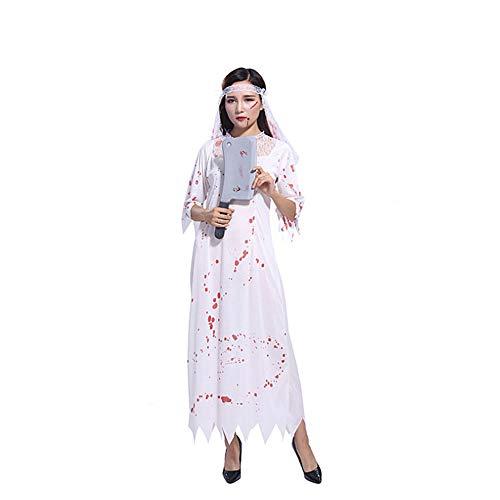 Proumhang Disfraz de Halloween Horror de Halloween Disfraz de Adulto Enfermera y Doctor Fantasma Sangriento y Novia-Novia sangrienta