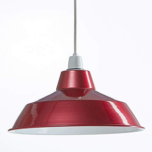 Luxa Lightning - Lámpara Colgante de Techo, Moderna, de Metal, Estilo Retro, Industrial, Vintage, para cafetería, Restaurante, Bar, 280 mm de diámetro - Rojo Metalizado