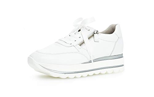 Gabor Damen Sneaker, Frauen Low-Top Sneaker,Best Fitting,Reißverschluss,Optifit- Wechselfußbett, Frauen weibliche Lady Ladies, 40.5 EU, Weiss Weiß