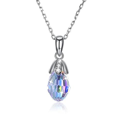 BENHAI Gotitas de Agua Diseño Cristales Colgante Collar, 925 Plateado Swarovski Element Colgante Joyería Regalo para el día de la Madre para Mujer De Amor Regalos para Mamá 41+3cm