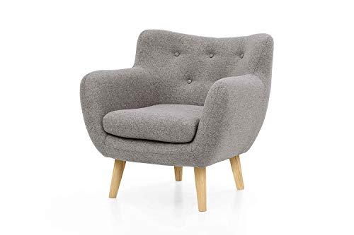 Furniture for Friends Möbelfreude Sessel Jana Hellgrau Polstersessel mit Massivholz-Füßen - Eiche 86 cm (H) x 83 cm (B) x 80 cm (T)