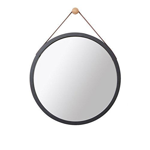 Spiegel ZI LING SHOP- Nordic ronde muur badkamer wastafel make-up decoratieve opknoping zwart ronde (38CM breed)