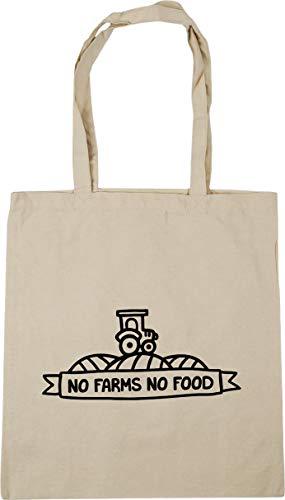 Hippowarehouse No Farms No Food Tote Shopping Gym Beach Bag 42cm x38cm, 10 litres