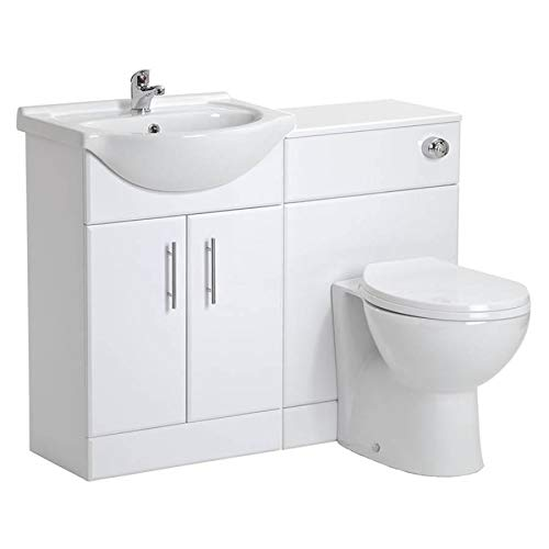 VeeBath Linx Bathroom Furniture Combination Set with Vanity Basin Cabinet, WC Toilet Unit, Pan &...