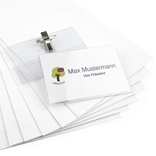 OfficeTree 100 Namensschilder mit Halter-Clip und Ansteck-Nadel - Kunststoff Namensschild für Visitenkarten bis 90x55 mm - Namensschilder für Kleidung - Transparent