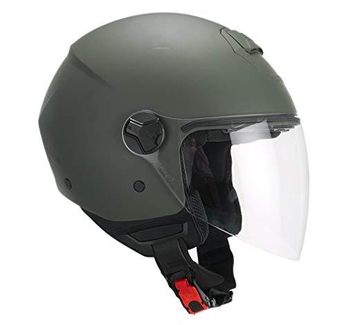 casco moto verde CGM Casco demi jet visiera lunga