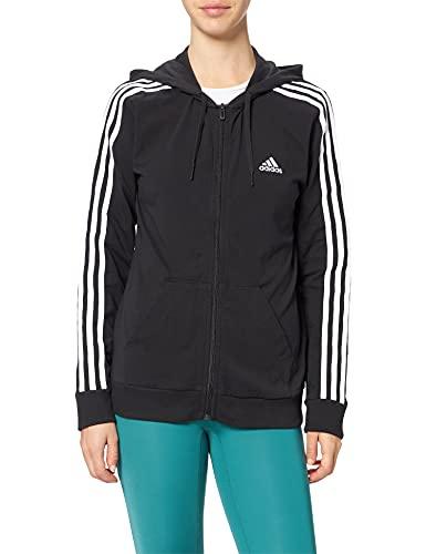 Adidas, W 3S Sj Fz HD , Sweatshirt À Capuche, Noir Blanc, XS, Femme