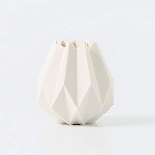 Kituir Macarons Arreglo de cerámica Tiesto Moderna Minimalista decoración del florero Sala pequeña Flor Fresca Mesa de Comedor decoración Floral florero de cerámica (Color : Blanco)