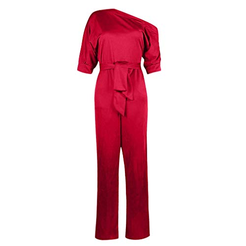 Sunhusing Women Solid Color Sexy Off-Shoulder Short Sleeve Siamese Trousers Belt Strappy Slim Jumpsuit Pants Red