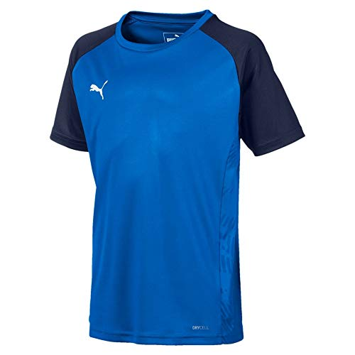 PUMA Cup Sideline Tee Core Jr T-Shirt, Electric Blue Lemonade-Peacoat, 164