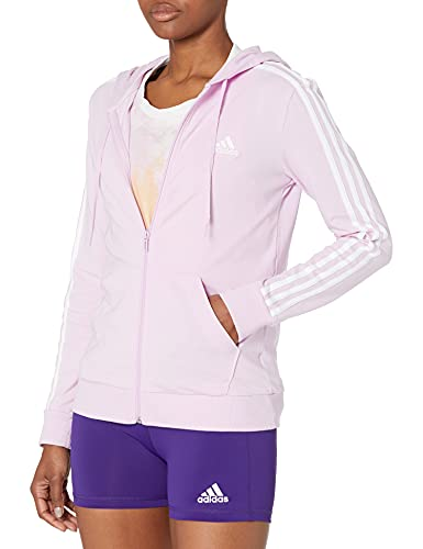adidas Womens Essentials Full-Zip Hoodie Clear Lilac/White Medium