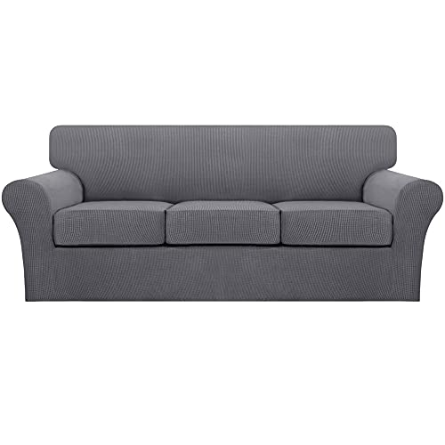 Turquoize 4 Piece Sofa Covers Stretch Couch Covers for 3 Cushion Couch Sofa Slipcovers with 3 Individual Seat Cushion Covers Furniture Protectors for Sofa, Soft Thick Fabric (Sofa, Gray)