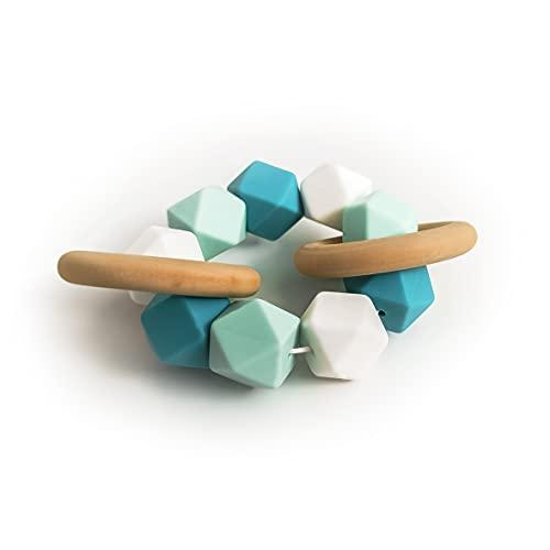 1ud   Mordedor de silicona y madera para bebe (Turquesa)