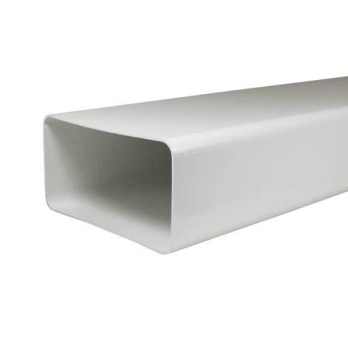 EASYTEC® Flachkanal Rohr | System 180 x 95 mm | Länge 100 cm | Kunststoff flach für Abluft Zuluft Dunstabzugshaube
