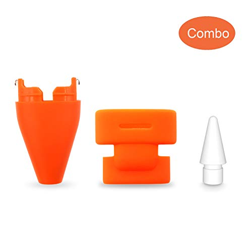 Replacement Pencil Tips + Pencil Cap Set Compatible with Logitech Crayon Digital Pencil, Replacement Accessories Pencil Nib+Pencil Nib Cover+ Protective Pencil Cap Combo for Logitech Crayon,Orange