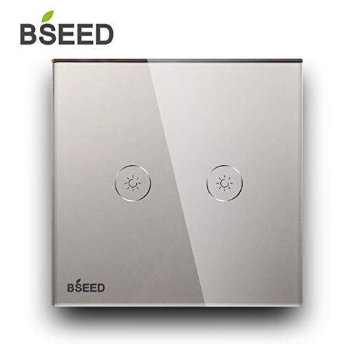BSEED Dimmer Schalter Led Dimmer Touch Lichtschalter 2-fach 1 weg Glas Touch Schalter Grau Touchscreen-Funktioniert mit dimmer LED-Glühlampen