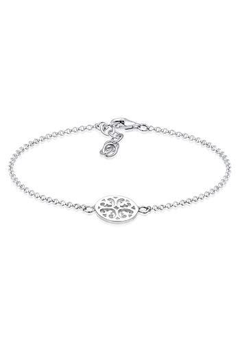 Elli Damen Armband mit Ornament Symbol Plättchen in 925 Sterling Silber - 17cm Länge