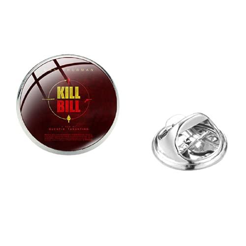 Movie Kill Bill Series Pines de acero inoxidable The Bride Uma Thurman Retro Print Glass Round Denim Chaquetas Collar Pin Badge