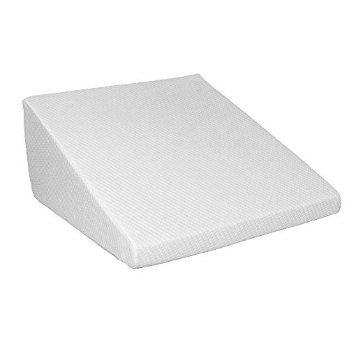 Hommoo Bed Wedge Pillow 1.5 Inch Memory Foam Top, Cushy Form (25 x 24 x 12 Inches) Best for Sleeping, Reading, Rest or Elevation - Breathable and Washable Cover (12 Inch Wedge, White)