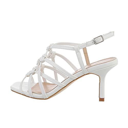 Ital Design Damenschuhe Sandalen & Sandaletten High-Heel Sandaletten, 9387-, Kunstleder, Weiß, Gr. 40