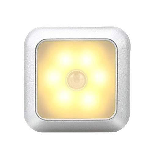 Buhui 6 LED de luz nocturna sensor de movimiento armario de pared escalera inalámbrica lámpara para el hogar