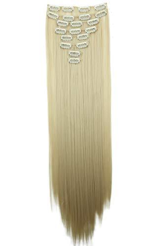 PRETTYSHOP XXL 50cm 8 Teile Set CLIP IN EXTENSIONS Haarverlängerung Haarteil Glatt Platinblond CES115
