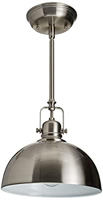 "CANARM IPL222B01BN Polo 1 Light 9"" Rod Pendant, Brushed Nickel with Painted White Interior"