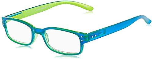 Chaot Lesebrille Reader Kunststoffbrille mit Federscharnier (+3,00, blau-grün)