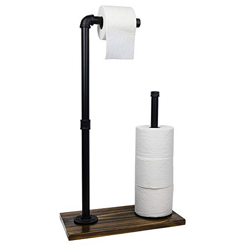 toilet paper holder with storages Toilet Paper Holder Stand: Free Standing Toiler Paper Dispenser Bathroom Organizer with Reserve Storage. Industrial Cast Iron Pipe with Stained Woodnen Base. Size: 28