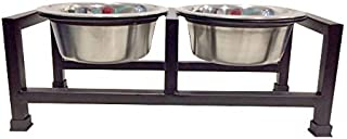 Pets Empire Wrought Iron Dog Bowl Stand Collection Diner for Dogs and Cats Stainless Steel Food and Water Bowls with Iron ...