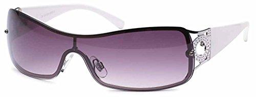 Sonnenbrille Monoscheiben Brille Damen Herren Sonnenbrillen Retro B551 Weiß