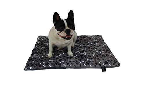 HS-Hundebett gepolsterte Hundedecke in 6 Größen I Qualität Made in Germany - waschbar bei 40° - trocknergeeignet I weiche Kuscheldecke für große & kleine Hunde (65 x 95 cm, Knochen Anthrazit)