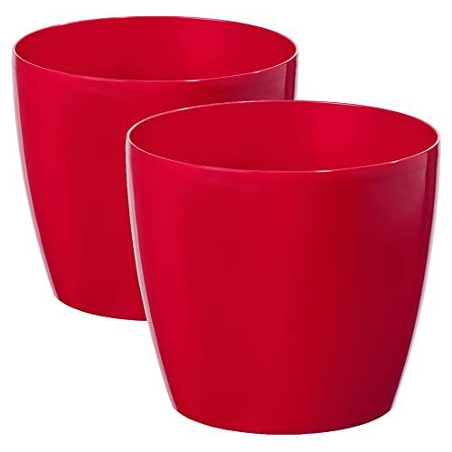 TYMAR Blumentopf, 2er-Pack, Pflanzentopf aus Kunststoff, Moderne, Runde Form (Rot, ø 12 cm)