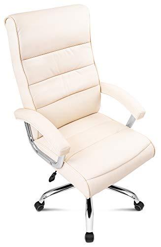 DiVolio Bürostuhl President Chefsessel Schreibtischstuhl Drehstuhl Bequeme Rückenlehne Armlehnen Belastbarkeit bis 150kg (beige)