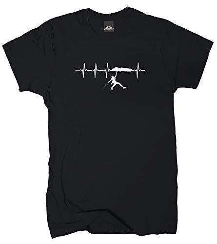 Wolkenbruch® T-Shirt Klettern Herzfrequenz, schwarz, Gr.L