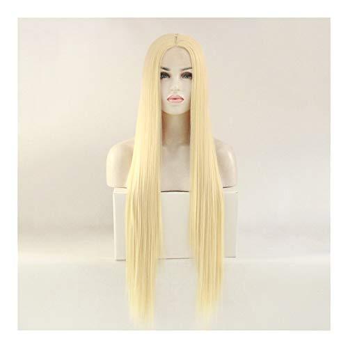 PengCheng Pang Mme perruque de dentelle perruque longue ligne droite peut être colorant chaud (Color : 30 inches)