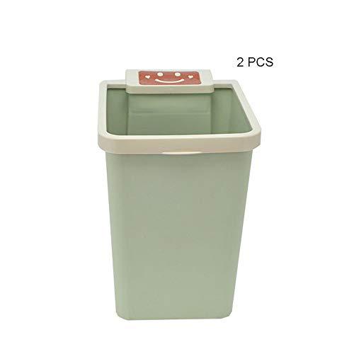 HAIMENG vuilnisbak 2 kleine plastic vuilnisbak creatieve huishoudelijke keuken afval mand voor de woonkamer badkamer prullenbak papier zonder gezondheidsdekking roestvrij staal automatische prullenbak