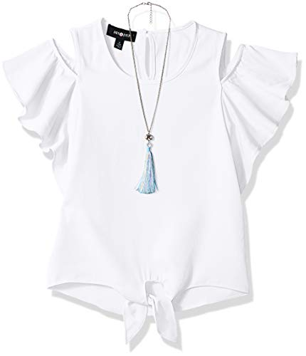 Amy Byer Girls' Flutter Sleeve Cold Shoulder Top with Necklace, White, Medium