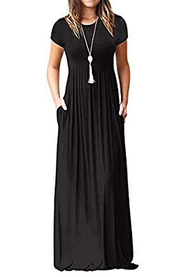 TODOLOR Women's Short Sleeve Loose Plain Maxi Dresses Casual Long Dresses with Pockets