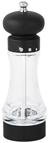 Fackelmann Salz- und Pfeffermühle DIAMANT, Gewürzmühle mit verstellbarem Keramikmahlwerk, Salz- und Pfefferstreuer mit Strasssteinen (Farbe: Transparent/Silber/Schwarz), Menge: 1 Stück