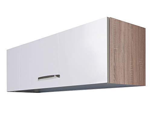 Smart Möbel Kurz-Hängeschrank mit Klapptür 100 cm Hochglanz Weiß - Valencia