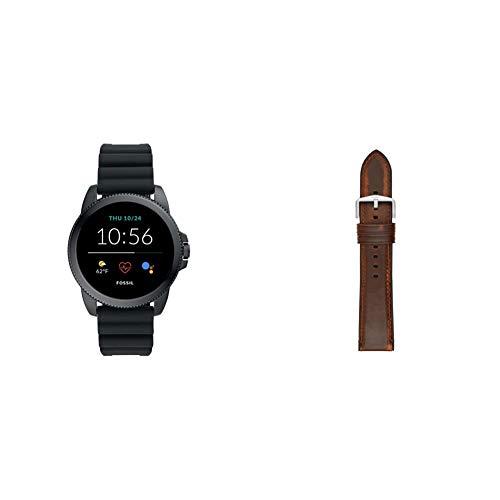 Fossil Connected Smartwatch Gen 5E para Hombre con tecnología Wear OS de Google, frecuencia cardíaca, GPS, NFC y notificaciones smartwatch, Silicona Negro + Correa de Reloj S221299