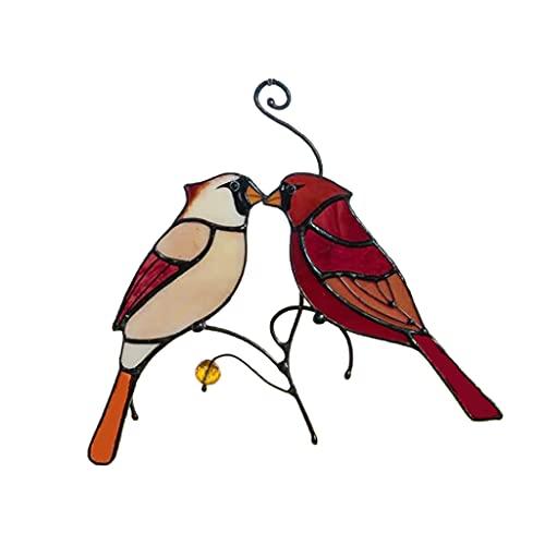 KLOVA Adornos para Ventanas, Hermosas Ramas, pájaros Rojos, Adornos de vidrieras, jardín Pastoral al Aire Libre, decoración Colgante para Ventana, Color 3